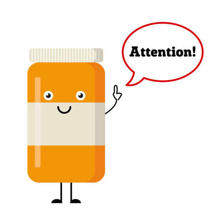 says: Happy pills and tablets on a white background, medication with emotion and eyes, smile, happiness. Vector image. Attention. Dialog window. Tablet says Illustration