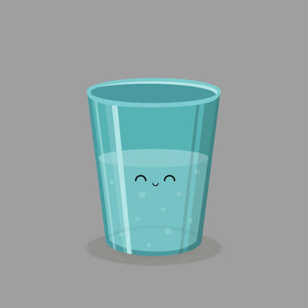tonsillitis: The glass of water and emotions. Vector image. Illustration