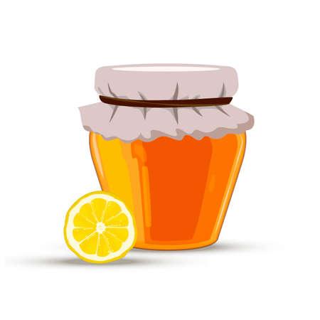 chamomile tea: Bank of honey with lemon. Vector image