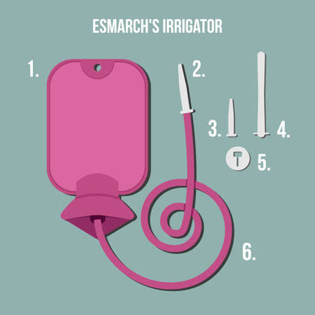 enema: Enema. Gray background. The intestine, the procedure in the hospital and at home. Vector Image.