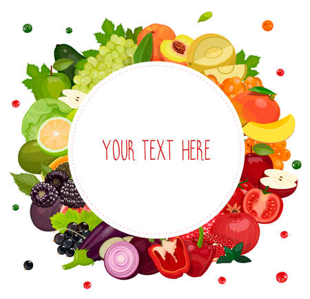 Round label with fruits, berries and vegetables: green, orange, red, purple. Design template  frame  banner. Vector, isolated on white background. Ilustração