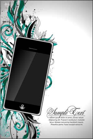 abstract floral design with phone