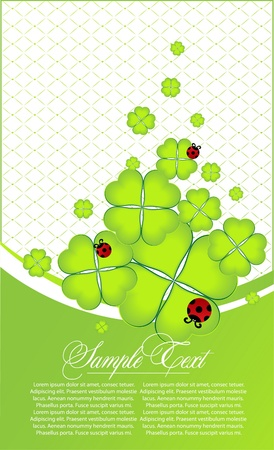 four fourleaf: abstract st Patrick day card Illustration