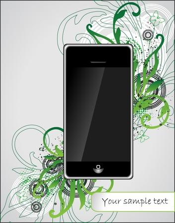 art flourish background with phone