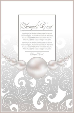 background with realistic vector pearls Stock Vector - 9477673