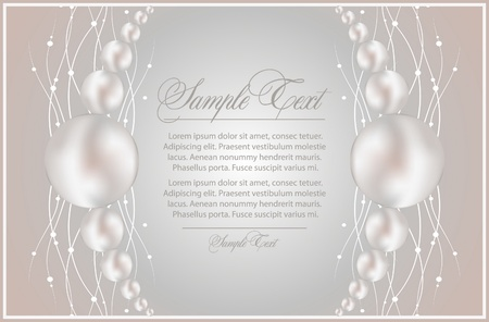 background with realistic vector pearls Stock Vector - 9477729