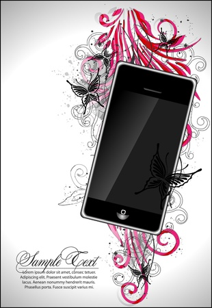 colored abstract background with phone