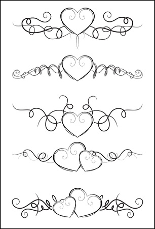 Decorative Elements with hearts for design