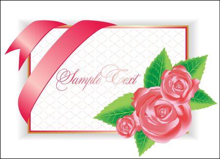 illustration with pink rose Illustration