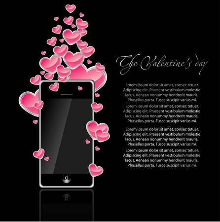 mobile phone  with  hearts