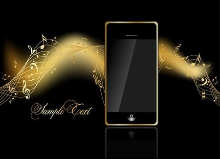 electronic music: cellulare con note di musica