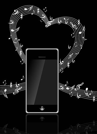 electronic organiser: mobile phone with Music notes Illustration
