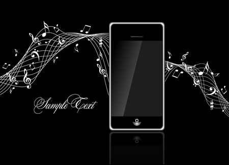 mobile phone with Music notes