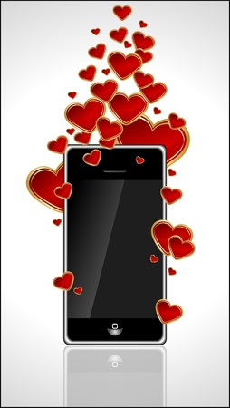 mobile phone with re hearts Stock Photo - 9477568