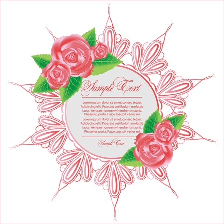 ornament frame with rose