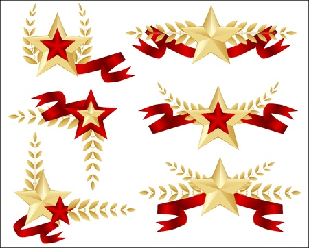 communism: set of star, background for military army veterans  day Illustration