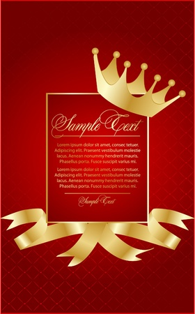 Vector red illustration with crown Illustration