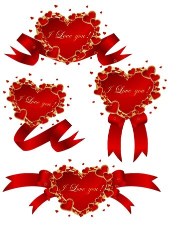Collection of vector red hearts