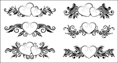 calligraphie chinoise: �l�ments de d�coration florales Illustration