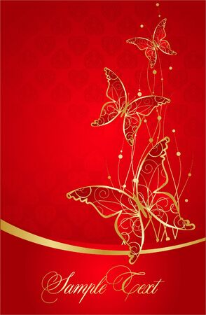 Elegant red background with butterfly Vector