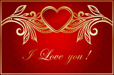 floral valentine card with red heart Stock Vector - 9539532