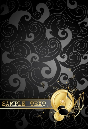 Gold notes on a  background Vector