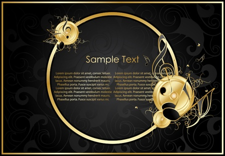 Gold notes on a background