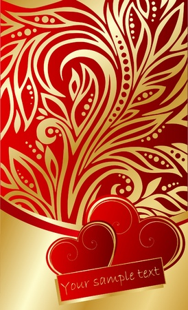 abstract ornate background with hearts Vector
