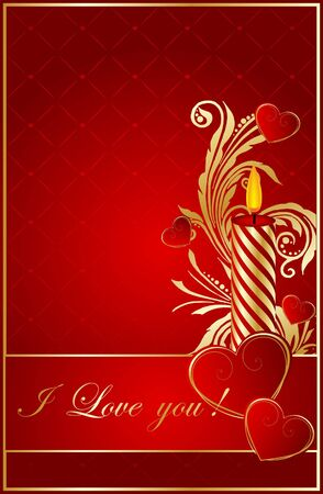 abstract red background with  hearts Vector