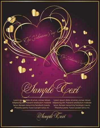 anniversaire mariage: carte violette romantique Illustration