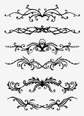 6 versions of abstract ornament in vintage style, symmetric inward, isolated.