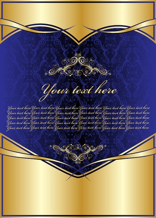 royal blue background: Blue design with heart for ornaments