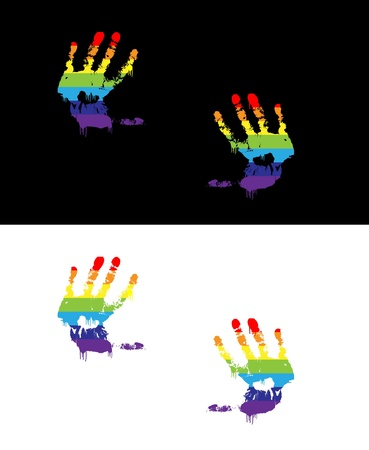 brightly coloured hand print Vector