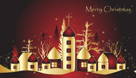 Christmas card with town Stock Vector - 10352141