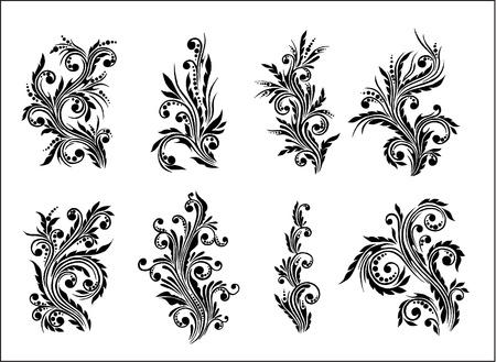 floral swirls: floral set Illustration