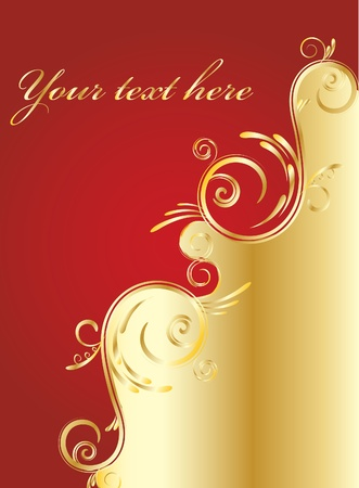 Gold abstraction on a red background for design Vector