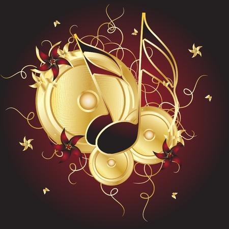 musica electronica: Notas de oro sobre fondo claret Vectores