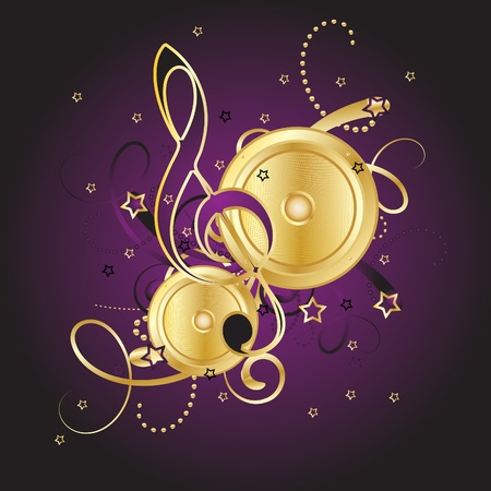 Gold notes on a violet background Vector