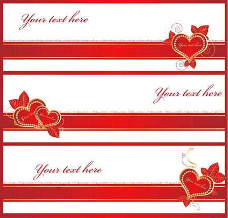Golden Love  banners Stock Vector - 10353386