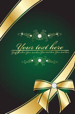 green ornamental bow  Vector
