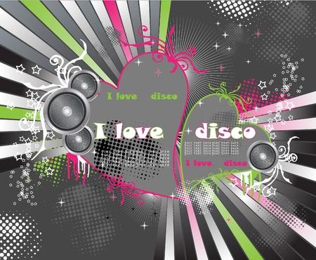 Heart disco Vector