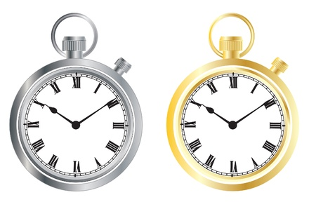 Set from hours, gold and silver Vector