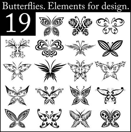 Set of butterflies Vector