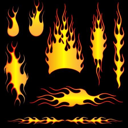 resplandor: Conjunto de incendios Vectores