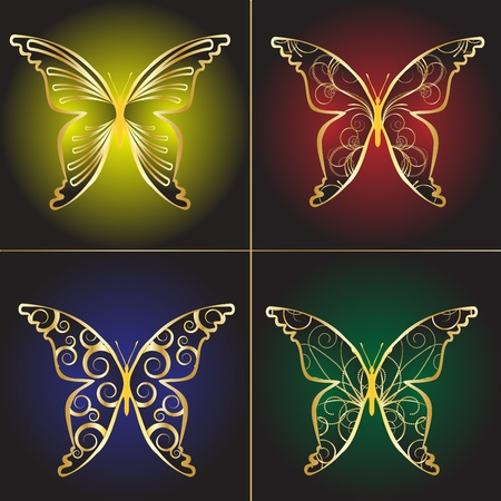 butterfly and women: Set Vintage butterflies on a black background Illustration