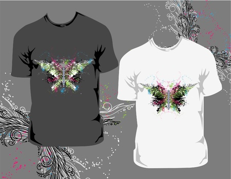 T-shirt with abstract butterfly Vector