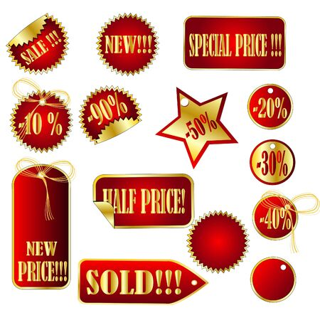 gold set of tags Vector