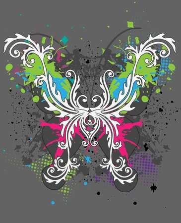 The abstract butterfly on grunge  background Vector