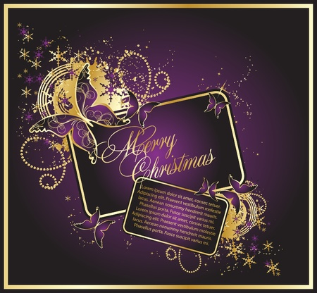 The violet christmas background with beauty butterflys
