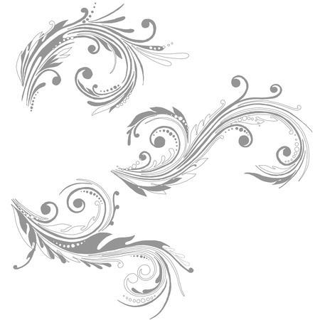 grecas: Silueta floral, elemento para el dise�o. Vectores